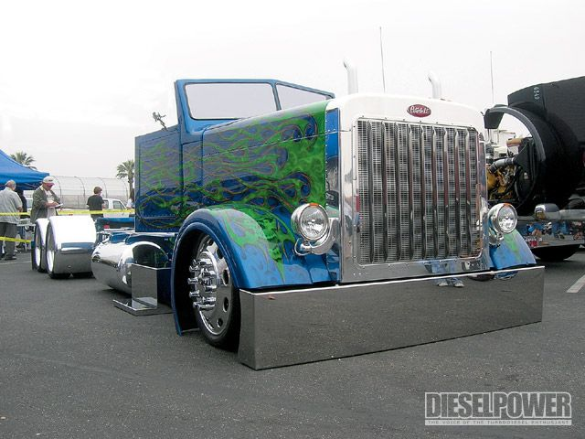 blue and green flames custom 18 wheeler