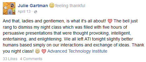 Julie Gartman ATI Review Facebook