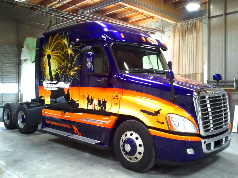 custom painted semi to honor servicemembers